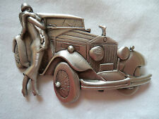 "Vintage Signed JJ ""Stunning Silver pewter Art Deco Lady and Car"" Brooch/Pin"
