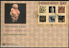 UNITED NATIONS SPECTACULAR COVER HOLDING INDIGENOUS ART 2004 SHEET FDCS  5 CARDS