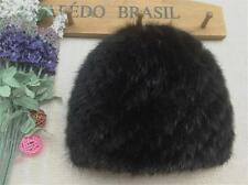 Real Mink Fur Hat Winter Warm Knitted Handmade Cap For Unisex New Chic Headgear