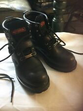 Pre Owned Harley Davidson Women's Black Leather Boots.  Size 6.  Slight Scuffs.