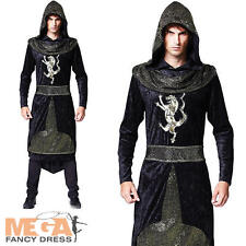 Medieval Royal Prince Mens Fancy Dress Renaissance Hooded Knight Adults Costume