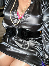 SEXY WET LOOK HIGH  GLOSS LIQUID SATIN BLOUSE 20 22 GUNMETAL SECRETARY shirt top