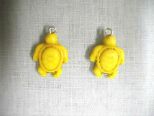 NEW HONU SEA TURTLE SUNSHINE YELLOW HOWLITE DANGLING 2 SIDED CHARM DROP EARRINGS