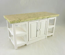 Dollhouse Miniature White Kitchen Center Island w/ side shelves, T5418