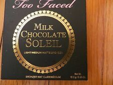 TOO FACED MILK CHOCOLATE SOLIEL LIGHT MEDIUM MATTE BRONZER FULL SIZE .35 OZ.