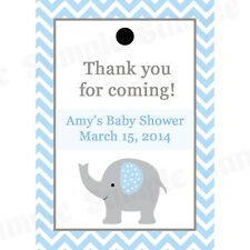 24 Personalized Baby Shower Favor Tags - Elephant - BLUE