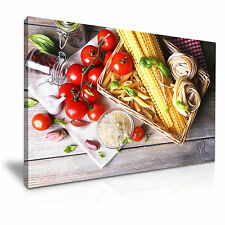 Food Kitchen Pasta Tomato Resturant Canvas Wall Art Picture Print A1 76x50cm