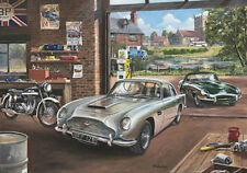 Aston Martin DB5 Jaguar E Type Norton ES2 Motorbike 1960s Garage Birthday Card