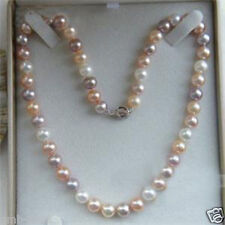 "Pretty 7-8mm Multicolor Freshwater Cultured Pearl Necklace 18""AAA"