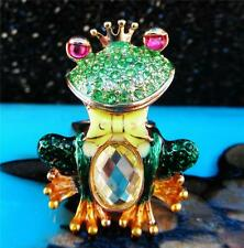 Betsey Johnson Ring PRINCE FROG Pave Green CRYSTAL Crown Bow Statement NWT