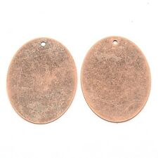 Metal Stamping Blanks Antiqued Copper Metal Oval Blank Charms Pendants 10pc