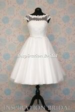 UK dress maker 1614 New 50's 60's vintage short knee tea length wedding dress