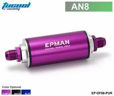 Racing Ready Inline Fuel Filter AN8 Steel Purple with 100 Micron Element Turbo