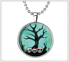 Glow in the Dark Man-Eating Tree Skull Cabochon Silver Glass Pendant Necklace