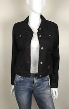 Guess Jeans 100% Cotton Denim Jacket Embroidered Lurex Trim Black Size Medium