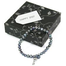 BG3194-2 Happy 21st Birthday Single Strand Real Freshwater Pearl Bracelet + Key