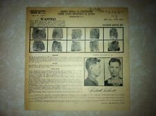 1943 FBI WANTED POSTER OF WILLIAM R. DELINSKI ATLANTA'S FIRST RANSOM KIDNAPPING