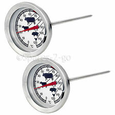 2 x Meat Poultry Food Thermometer BBQ Oven Temperature Cooking Stainless Probe