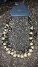 SIMPLY VERA WANG NWT $34 women's necklace swag pearls clear beads black ribbon