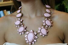 OSCAR DE LA RENTA SIGNED HAUTE COUTURE RESIN AND CRYSTAL PINK STATEMENT NECKLACE