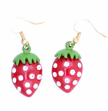 Red strawberry dangle earrings with sparkly clear crystals