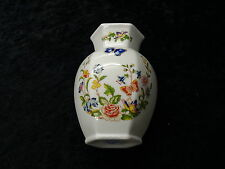 Aynsley china hexagon shaped vase, 12.5cm high, cottage garden pattern