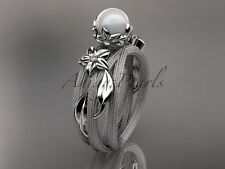 14k white gold diamond leaf and vine pearl engagement ring AP253