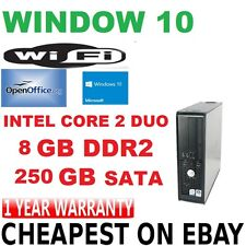 Windows 10 Dell Optiplex Core 2 Duo 8GB 250 GB DVD RW Torre Computadora Pc De Escritorio