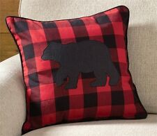 "BUFFALO RED BLACK BEAR PILLOW : 18"" CABIN LODGE ACCENT CHECK WESTERN CUSHION"