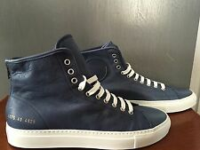 COMMON PROJECTS Size 40 Navy leather Achilles Leather Zip Hightop w/ White Sole