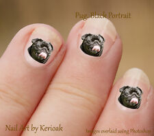 Black Pug Portrait Dog 24 Unique Designer Nail Art Stickers Decals