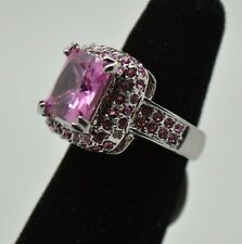 Fashion Cocktail Ring Pink Cubic Zircon Rhodium Plated ring Size : 6  yu-54