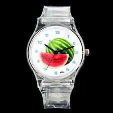 Juicy Hipster Watermelon Ripe Fruit Dial Transparent Silicone Unisex Wrist Watch