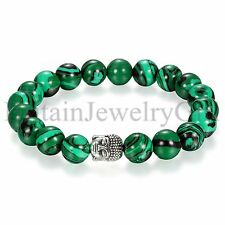 Mens Handmade Immitation Malachite Buddha Buddhist Stretch 10MM Beaded Bracelet