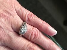 ART DECO 18K White GOLD Filigree .10ct DIAMOND RING