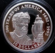 COOK IS.= 1990 = 10 D.- 500 YEARS OF AMERICA - CH.COLUMBUS - SILVER - PROOF