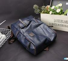 Vintage Men's Leather Backpack Bags Shoulder Briefcase Rucksack Laptop Bag Blue