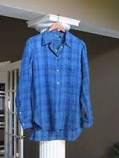 LAUREN RALPH LAUREN Blue Indigo Plaid Hi-Low Hem Shirt Top Size L NWT $89.50