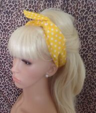 YELLOW & WHITE POLKA DOT BENDY WIRE HAIR HEADBAND WIRED 50'S STYLE ROCKABILLY
