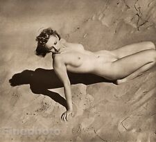 1940 Original FEMALE NUDE England Beach Sand Dunes Photo Art Deco ~ JOHN EVERARD