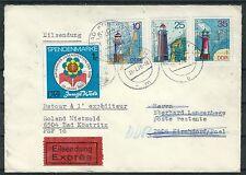 DDR Mi.Nr. 2046/48/49 auf Eilbrief nach Schleswig/Holstein u. zurück
