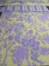 Queen Size Reversible Duvet Set Chartreuse Blue Toile Paisley French Country