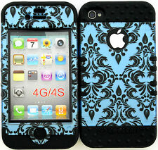 Hybrid Silicone Cover Case Skin IPHONE 4 4S Victorian Damask on Black Skin