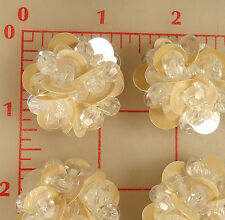 """12 shank buttons beaded & sequins design clear beads & beige 1.25"""" 31mm plastic"""