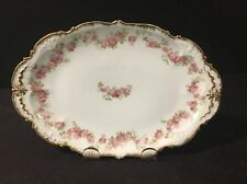 "ANTIQUE CH FIELD HAVILAND LIMOGES GDA FRANCE 8.75""  PLATTER PINK Floral GOLD"