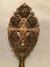 "Antique Bronze or Brass with Ormolu Filigree Lamp Light Parts Finial Large 6.8""L"