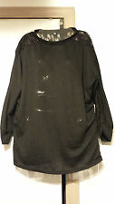 NEW Black Lace Top Shirt - Size X-Large