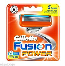 GILLETTE FUSION POWER BLADES X 8 (100% GENUINE UK)