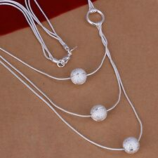 925 Sterling Silver Necklace Pendant Balls B12