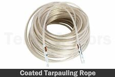 20m PVC Coated Wire Rope Tarpaulin Plastic Line Fixing Ends 5,5mm Truck Lorry